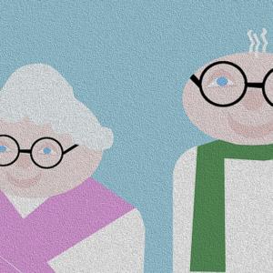I nonni indossano gli occhiali